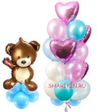 набор «перламутровый мишка» лайт доставка шаров, воздушные шары, шарики с гелием, воздушные шары, воздушные шары спб