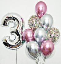набор хром с цифрой доставка шаров, воздушные шары, шарики с гелием, воздушные шары, воздушные шары спб