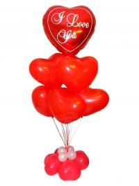 фонтан из шаров «14 февраля» доставка шаров, воздушные шары, шарики с гелием, воздушные шары, воздушные шары спб