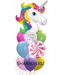 радужный единорог доставка шаров, воздушные шары, шарики с гелием, воздушные шары, воздушные шары спб