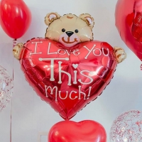 шар «мишка с сердцем» доставка шаров, воздушные шары, шарики с гелием, воздушные шары, воздушные шары спб