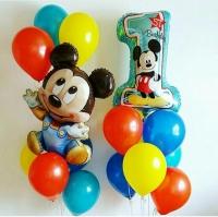 набор шаров «годик с микки» доставка шаров, воздушные шары, шарики с гелием, воздушные шары, воздушные шары спб
