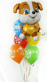 фонтан из шаров с щенком доставка шаров, воздушные шары, шарики с гелием, воздушные шары, воздушные шары спб