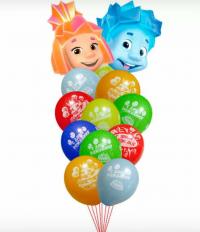 фонтан из шаров «симка и нолик» доставка шаров, воздушные шары, шарики с гелием, воздушные шары, воздушные шары спб