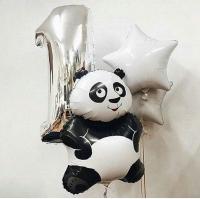 сет с пандой доставка шаров, воздушные шары, шарики с гелием, воздушные шары, воздушные шары спб