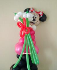 минни с букетом 2 доставка шаров, воздушные шары, шарики с гелием, воздушные шары, воздушные шары спб