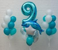 набор шаров «дельфин» доставка шаров, воздушные шары, шарики с гелием, воздушные шары, воздушные шары спб