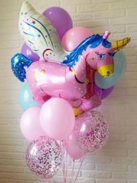 фонтан из шаров «розовый единорог» доставка шаров, воздушные шары, шарики с гелием, воздушные шары, воздушные шары спб