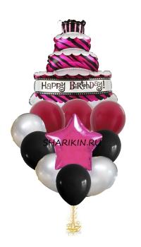 воздушный торт доставка шаров, воздушные шары, шарики с гелием, воздушные шары, воздушные шары спб