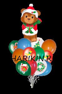новогодний мишка доставка шаров, воздушные шары, шарики с гелием, воздушные шары, воздушные шары спб