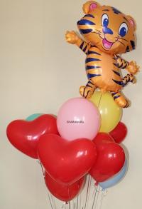 фонтан из шаров «милый тигра» доставка шаров, воздушные шары, шарики с гелием, воздушные шары, воздушные шары спб