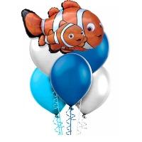фонтан из шаров «немо» доставка шаров, воздушные шары, шарики с гелием, воздушные шары, воздушные шары спб