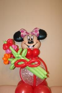 минни (микки) с букетом доставка шаров, воздушные шары, шарики с гелием, воздушные шары, воздушные шары спб