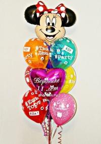 фонтан из шаров «минни хэштег» доставка шаров, воздушные шары, шарики с гелием, воздушные шары, воздушные шары спб