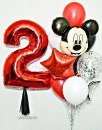 набор шаров «микки с цифрой» доставка шаров, воздушные шары, шарики с гелием, воздушные шары, воздушные шары спб