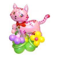фигура «кот на поляне» доставка шаров, воздушные шары, шарики с гелием, воздушные шары, воздушные шары спб