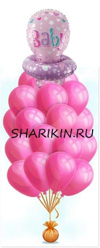 фонтан на выписку с соской «лялька» доставка шаров, воздушные шары, шарики с гелием, воздушные шары, воздушные шары спб