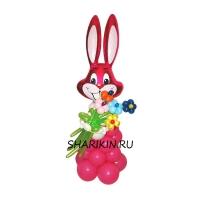 заяц с цветами доставка шаров, воздушные шары, шарики с гелием, воздушные шары, воздушные шары спб