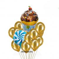 фонтан из шаров «золотой кекс» доставка шаров, воздушные шары, шарики с гелием, воздушные шары, воздушные шары спб