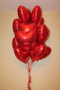 7 шт. красных сердец 45 см