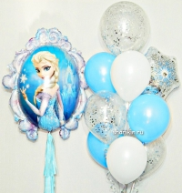 набор шаров «эльза -  серебро» доставка шаров, воздушные шары, шарики с гелием, воздушные шары, воздушные шары спб