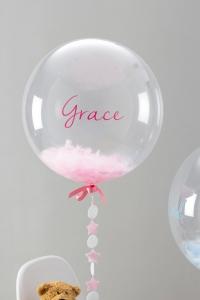 шар баблс с перьями и надписью доставка шаров, воздушные шары, шарики с гелием, воздушные шары, воздушные шары спб