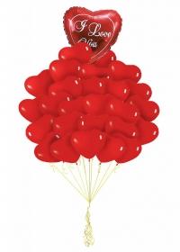 фонтан красные сердца i love you доставка шаров, воздушные шары, шарики с гелием, воздушные шары, воздушные шары спб