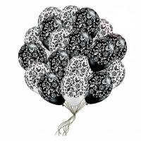 чёрно-белый букет доставка шаров, воздушные шары, шарики с гелием, воздушные шары, воздушные шары спб