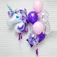 набор шаров «фиолетовый единорог» доставка шаров, воздушные шары, шарики с гелием, воздушные шары, воздушные шары спб