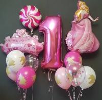 набор «с днём рождения,принцесса!» доставка шаров, воздушные шары, шарики с гелием, воздушные шары, воздушные шары спб