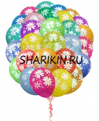 фонтан из шаров «ромашки» доставка шаров, воздушные шары, шарики с гелием, воздушные шары, воздушные шары спб