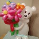 мишка с букетом доставка шаров, воздушные шары, шарики с гелием, воздушные шары, воздушные шары спб