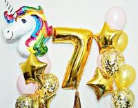 набор шаров «золотой единорог» доставка шаров, воздушные шары, шарики с гелием, воздушные шары, воздушные шары спб